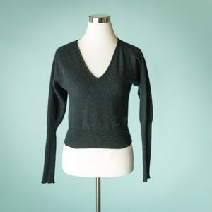 Free People M Black Angora Wool Crop Sweater